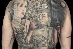 Tatouage dos thème asie